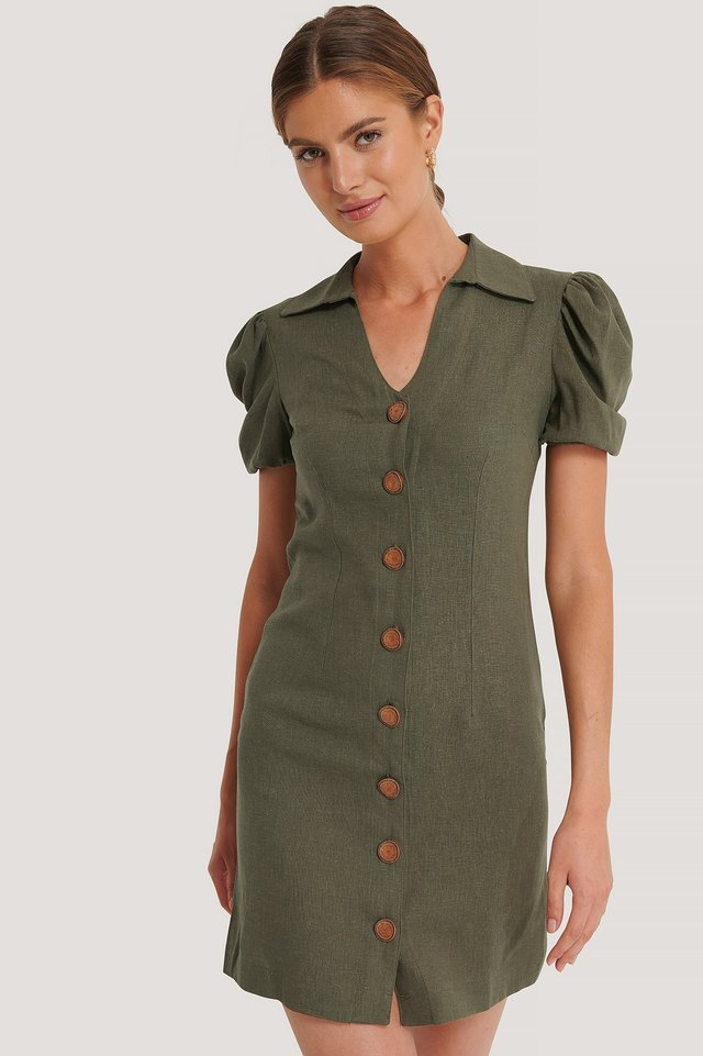 Khaki Kleid Mit Knopfdetail