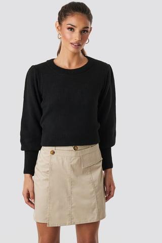 Beige Button Detailed Mini Skirt