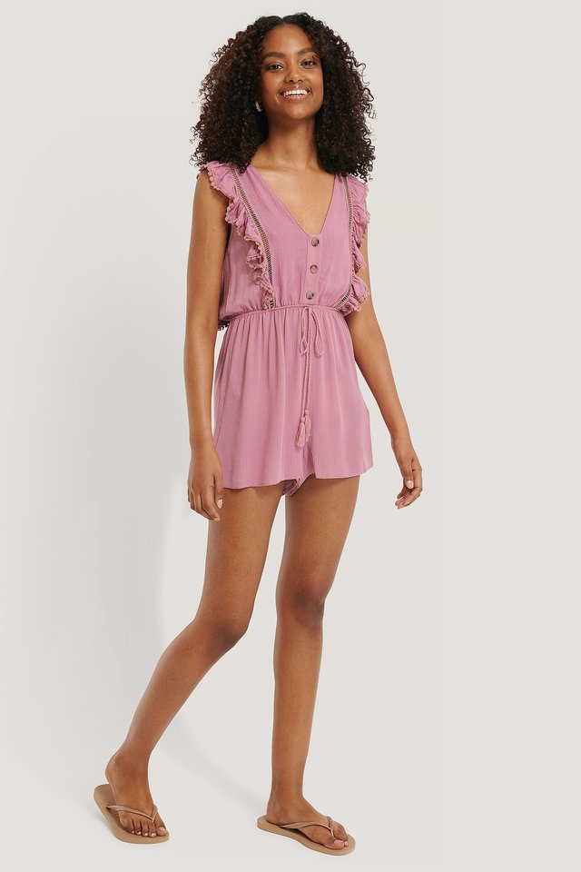 Button Detailed Viscose Playsuit Dusty Rose