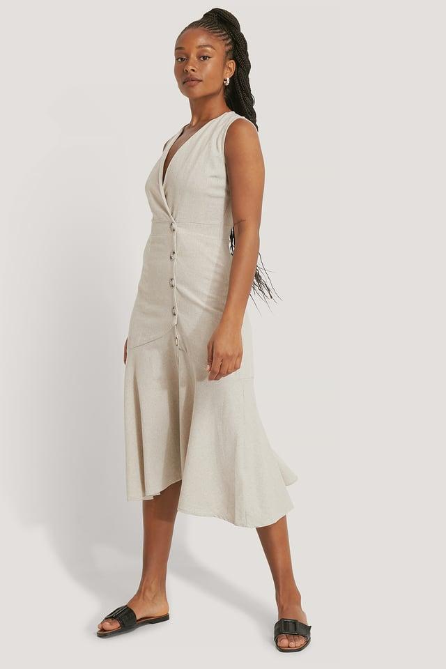 Button Flared Dress Stone