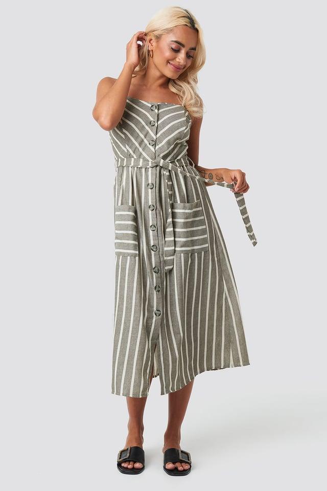 Button Linen Midi Dress Khaki