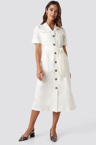 White Buttoned Midi Dress