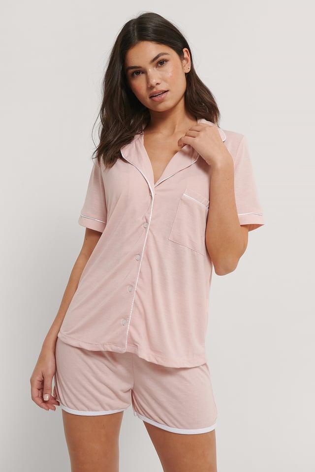 Buttoned Pyjamas Set Powder Pink
