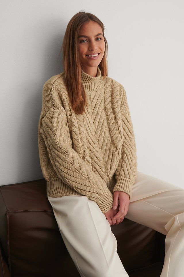 Beige Cable Knit Detail Sweater