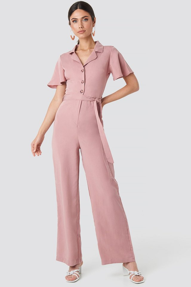 Carmen Binding Detailed Jumpsuit Dusty Rose
