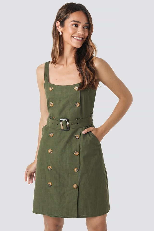 Carmen Button Detail Mini Dress Khaki