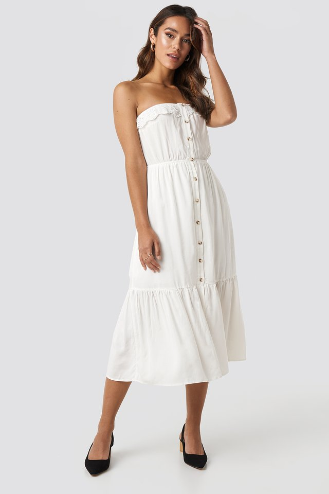 Carmen Button Midi Dress White