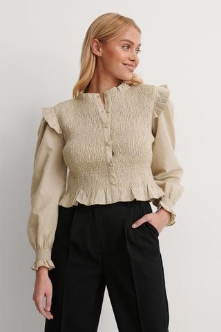 Beige Carmen Detail Shirt
