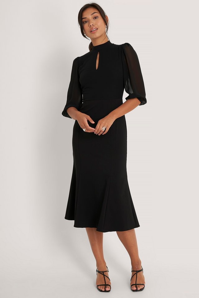 Carmen Detailed Midi Dress Black
