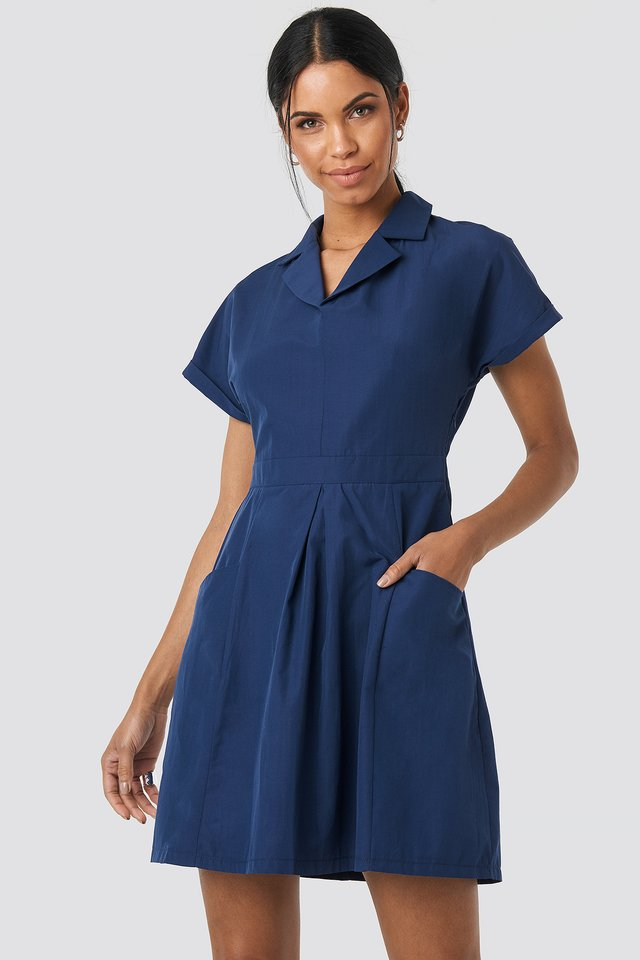 Carmen Pocket Detailed Dress Indigo
