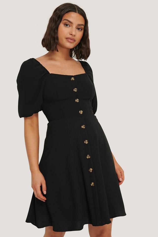 Carmen Puff Sleeve Mini Dress Black