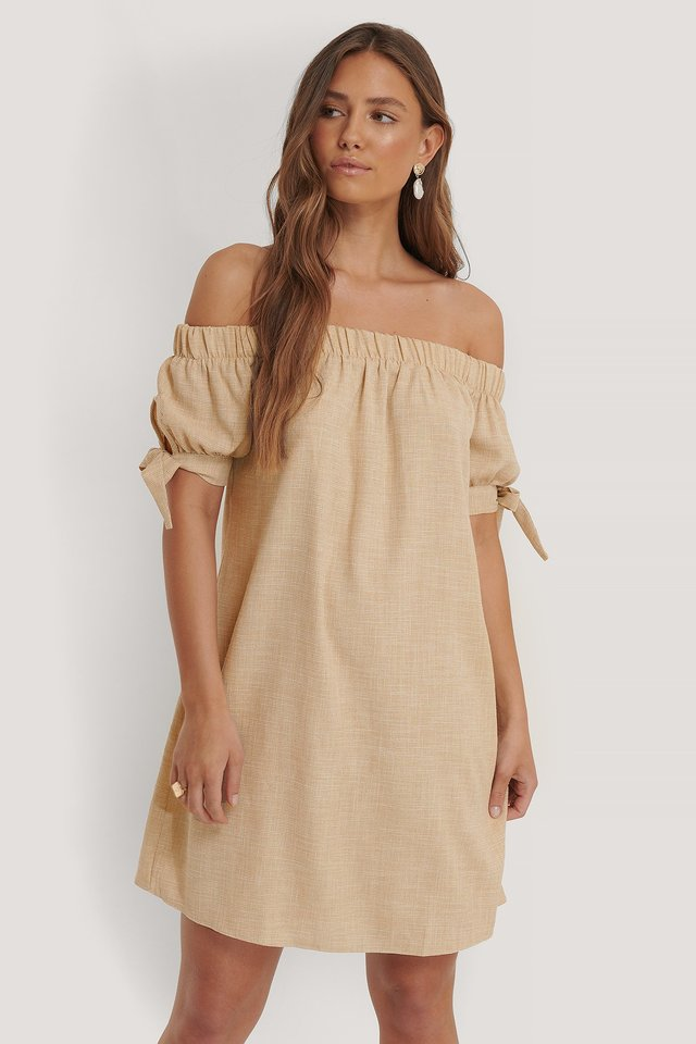 Carmen Sleeve Detail Dress Beige