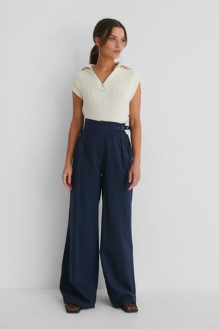 Navy Carmen Wide Trousers