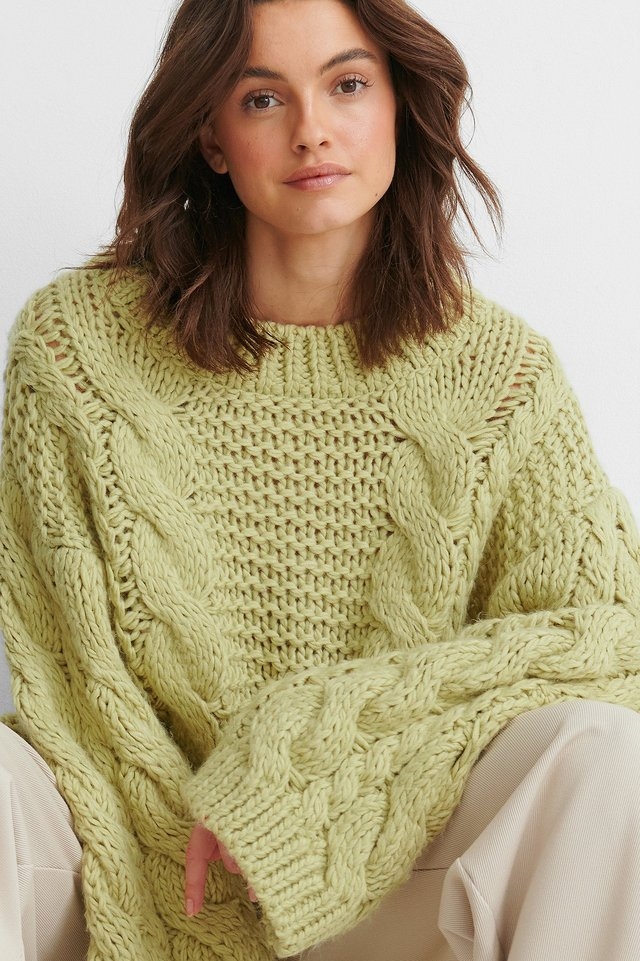 Light Green Chunky Cable Knitted Sweater