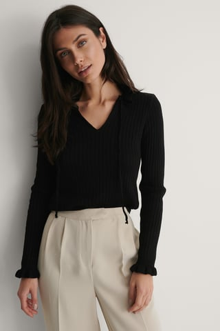 Black Collar Detail Knit Sweater