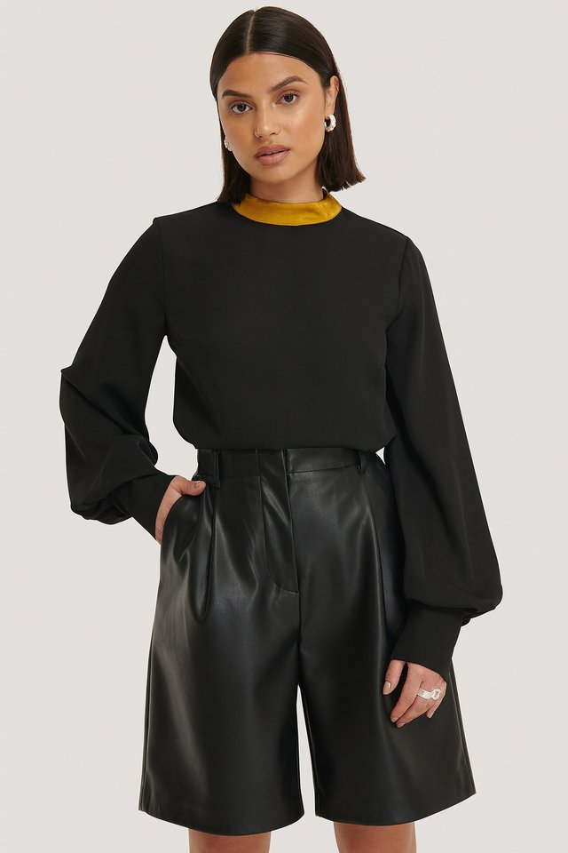 Black Collar Detailed Blouse