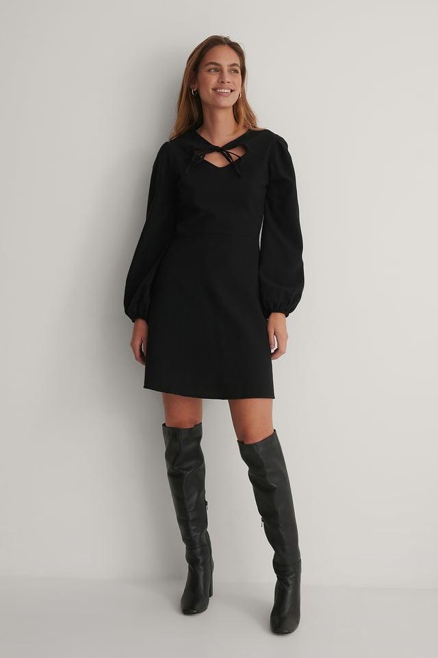 Collar Detail Mini Dress Black