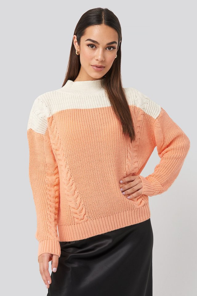 Color Blocked Knitted Sweater Peach