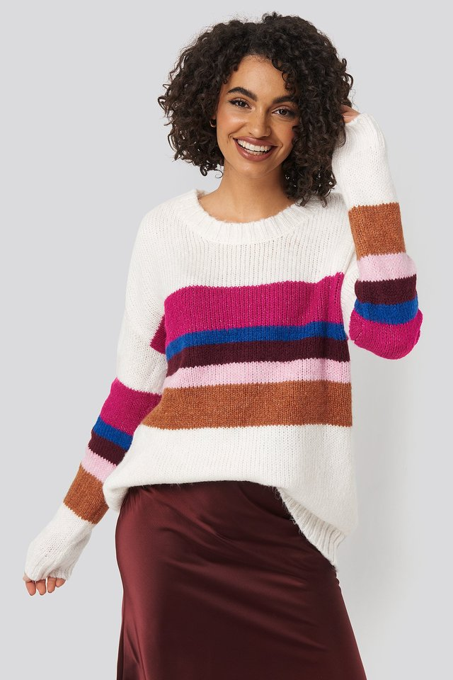 Color Blocked Knitted Sweater Ecru