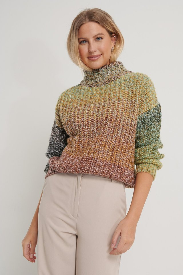 Color Knitted Sweater Multicolor