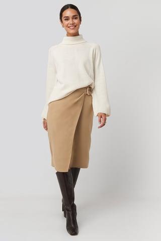 Cream Cream Belt Detailed Skirt