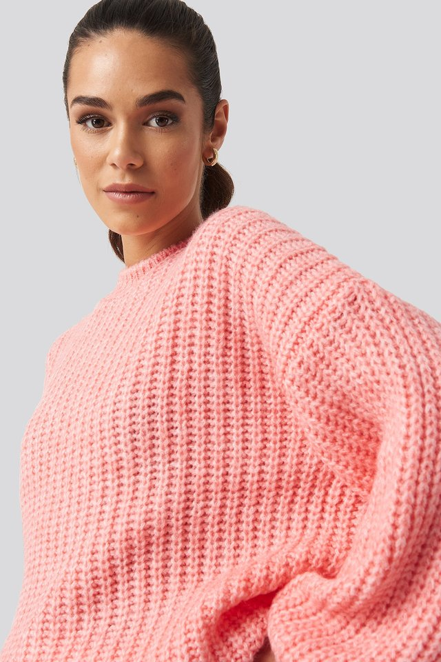 Crew Neck Knitted Sweater Pink