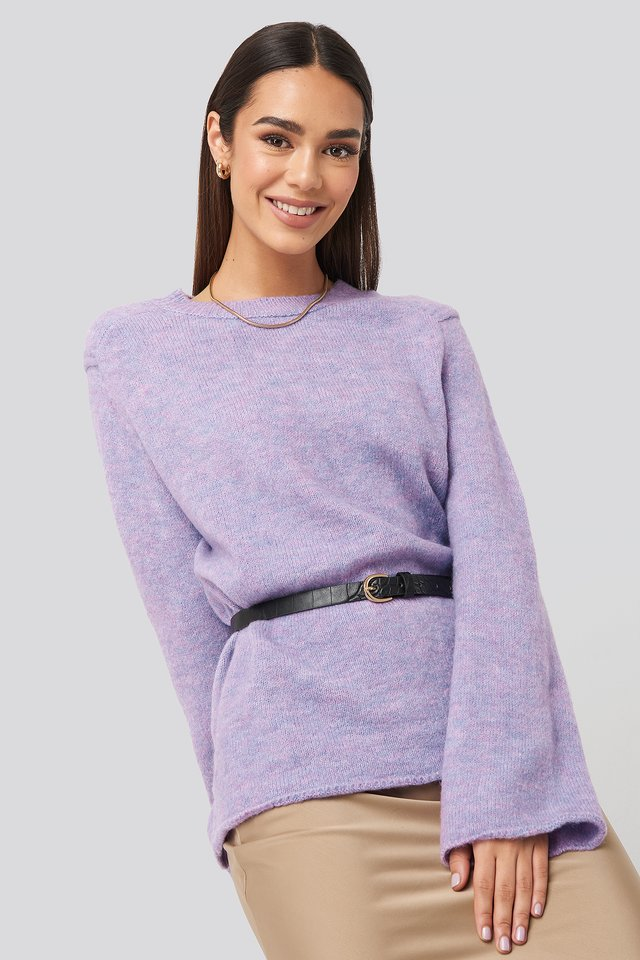 Crew Neck Knitted Sweater Lila