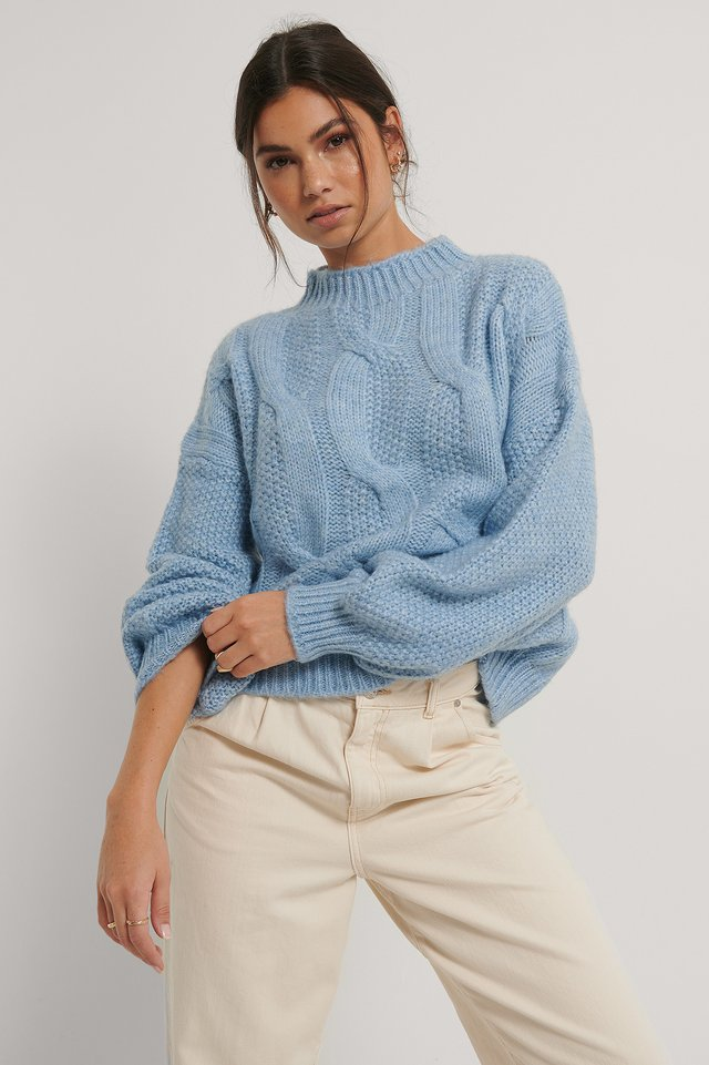 Crew Neck Knitted Sweater Blue