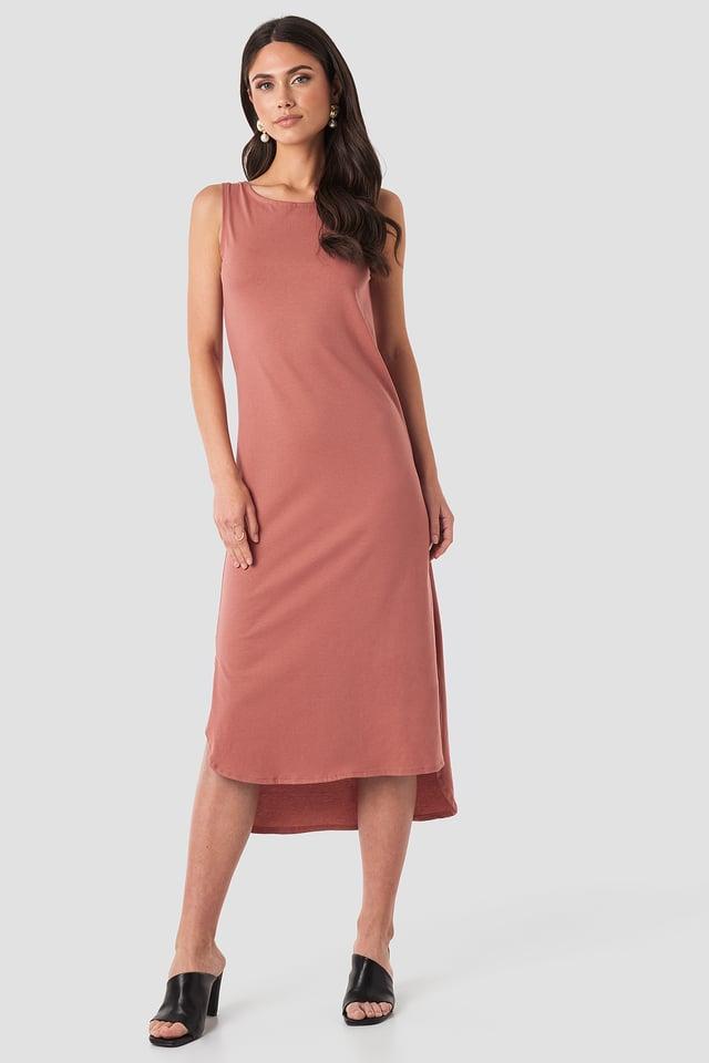 Powder Pink Crew Neck Slit Dress