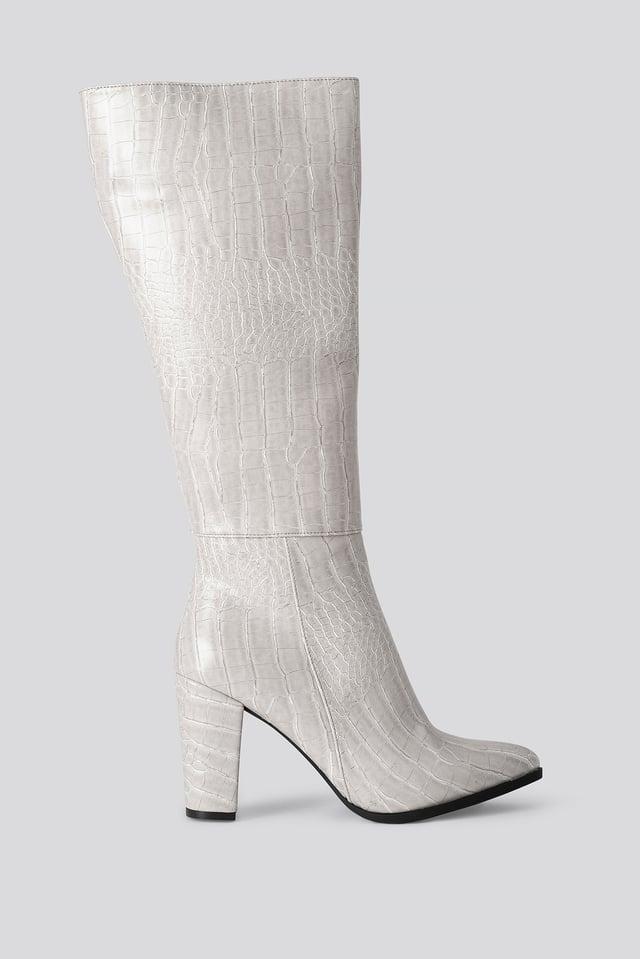 Croco High Boots Stone
