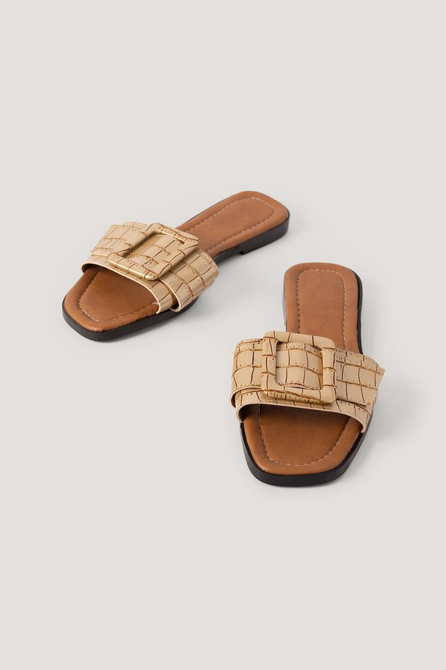 Croco Slippers Gold