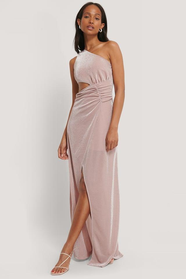 Cut Out Detail Maxi Dress Powder Pink