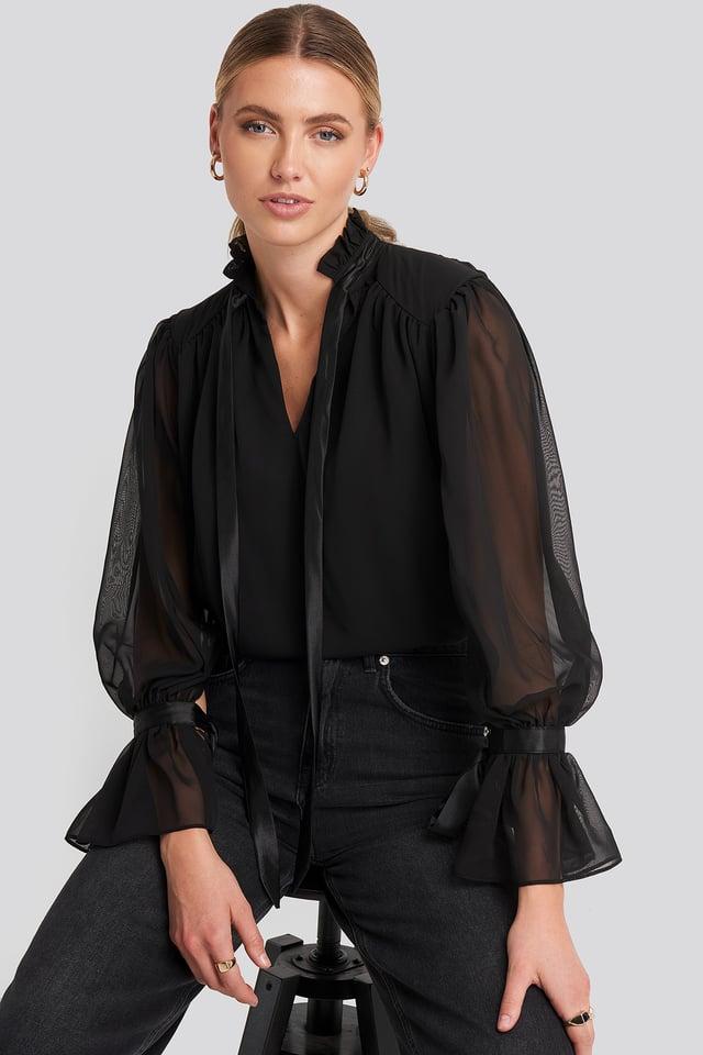 Ribbon Detailed Blouse Black