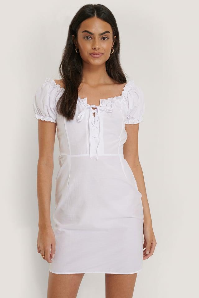 Detailed Poplin Mini Dress White