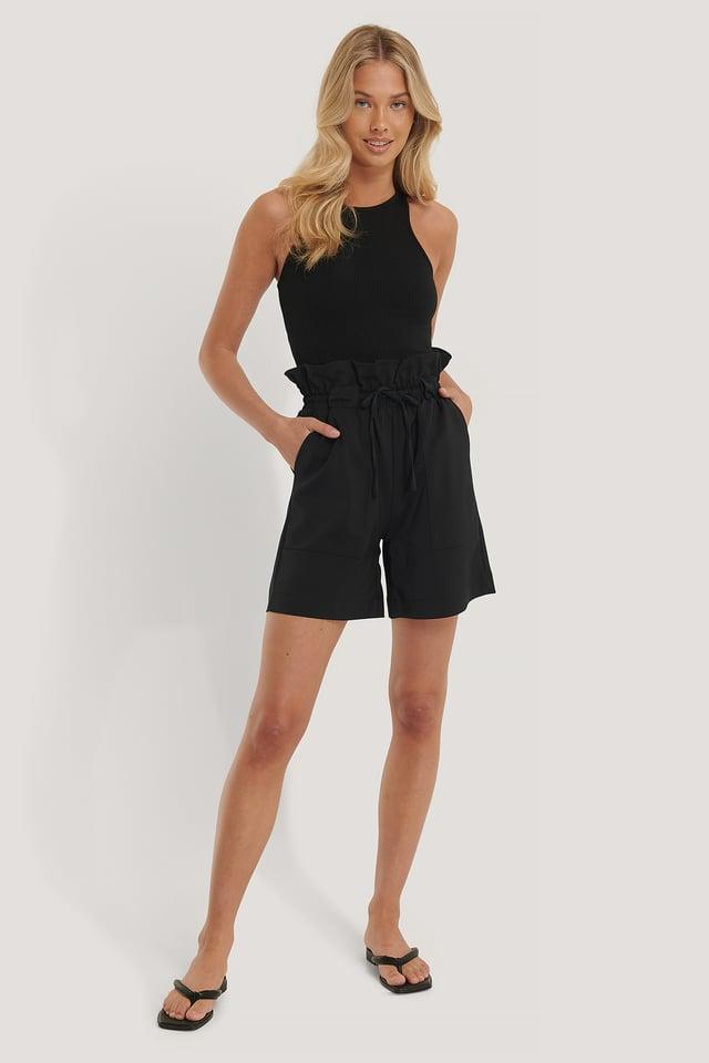 Black Paperbag-Shorts
