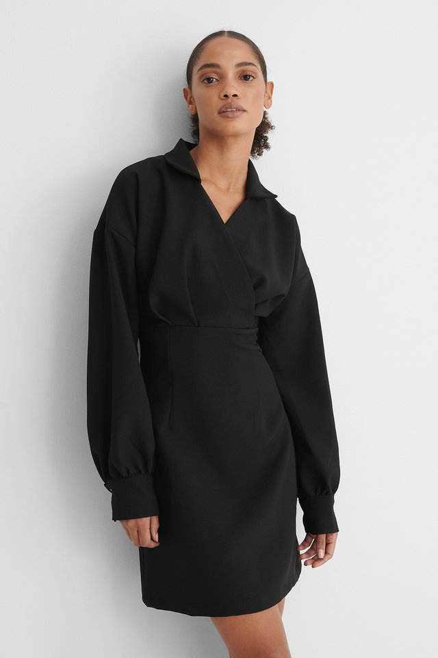 Black Double Breasted Collar Dress