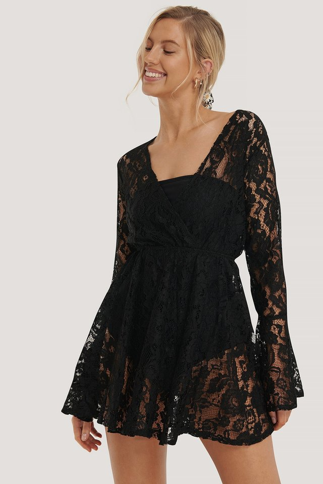Lace Double Breasted Dress Black