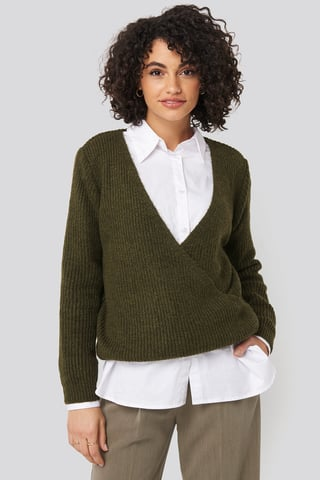 Khaki Double Breasted Knitted Sweater