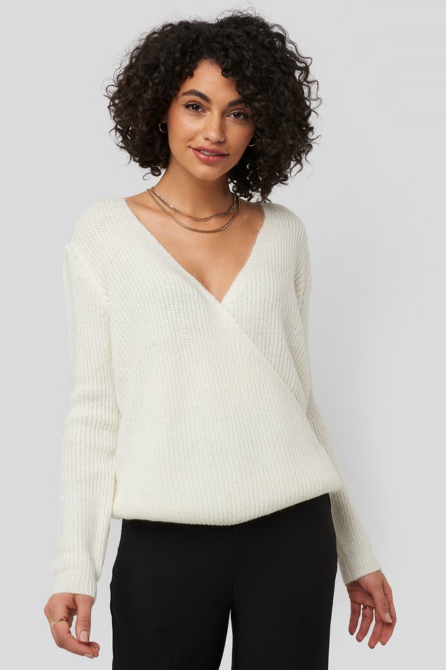 Ecru Double Breasted Knitted Sweater