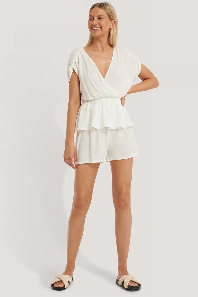 Double Breasted Pyjamas Set White