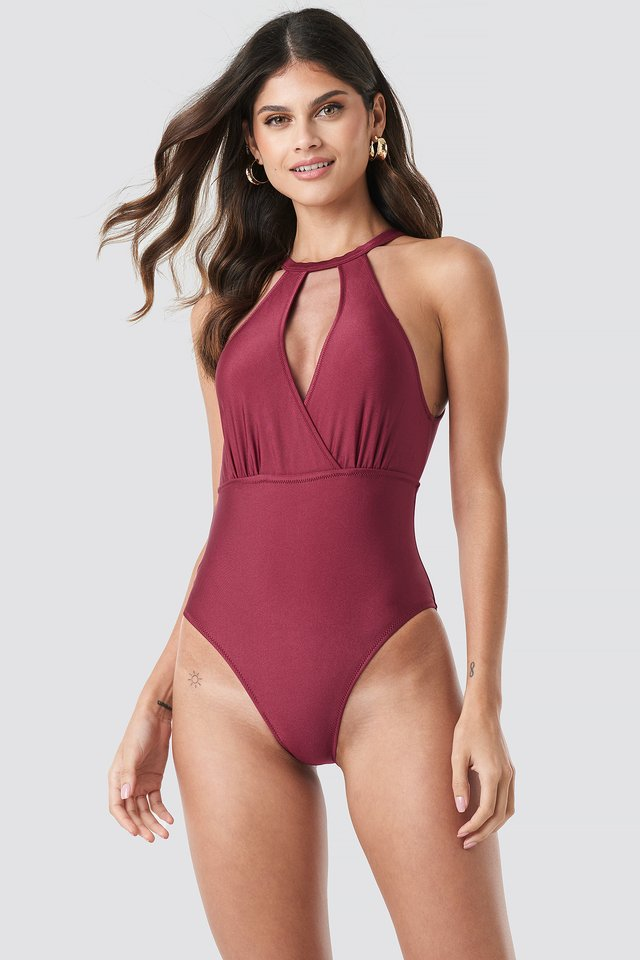 Double Breasted Collar Swimsuit Red