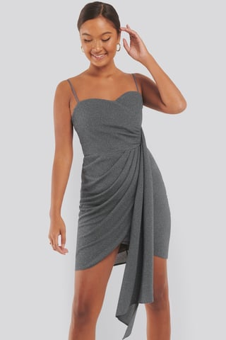 Grey Drape Detailed Mini Dress