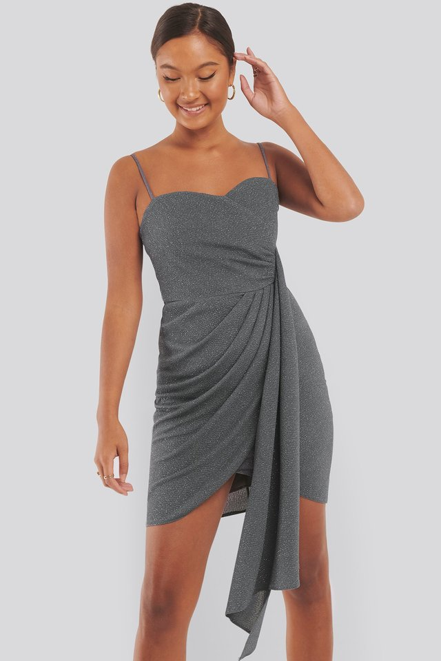 Drape Detailed Mini Dress Grey