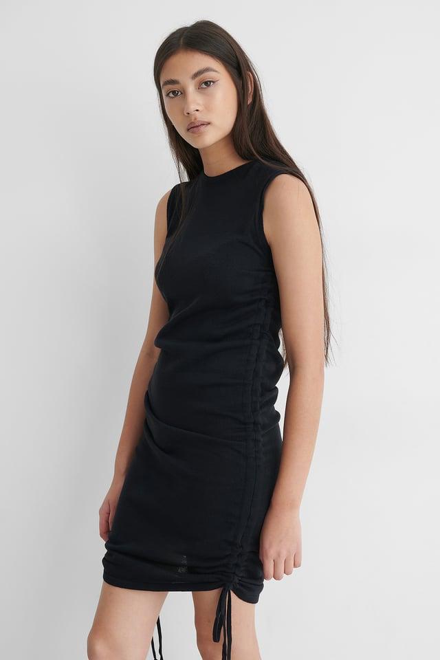 Navy Drawstring Mini Dress