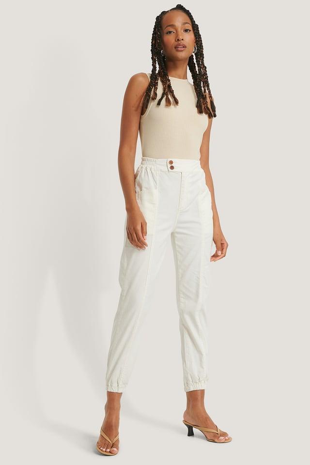 White Elastic Waist Jogger Jeans