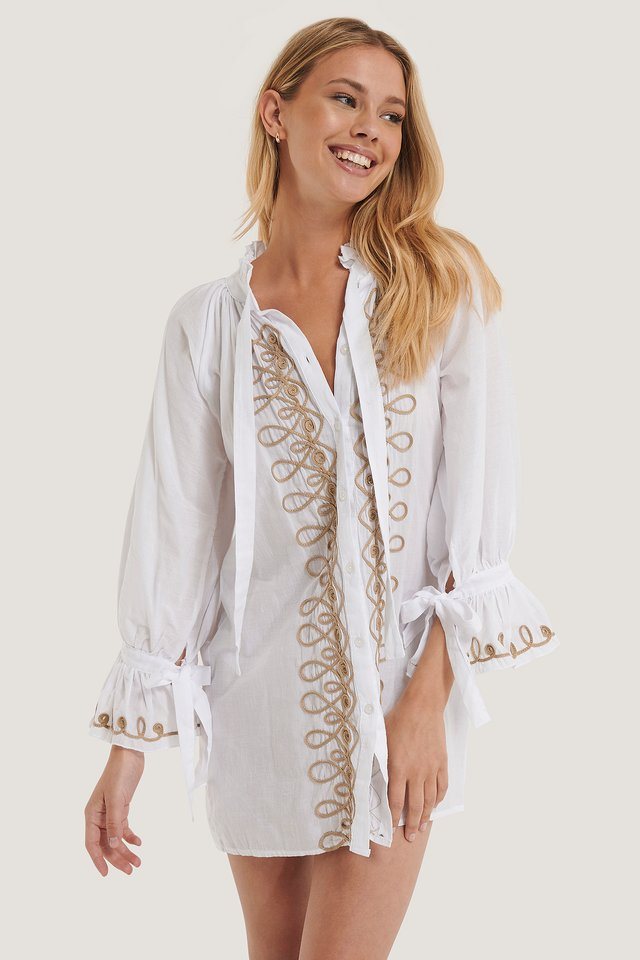 Embroidered Voile Beach Dress White