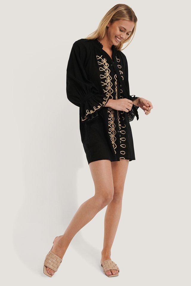 Embroidered Voile Beach Dress Black