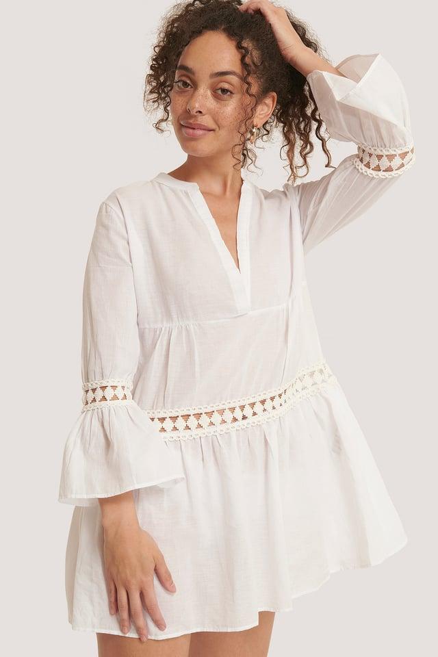 Embroidery Detailed Mini Dress White