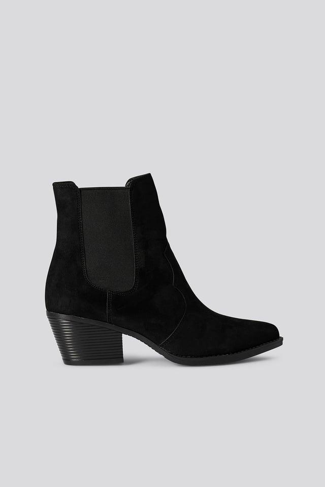 Faux Suede Ankle Boots Black