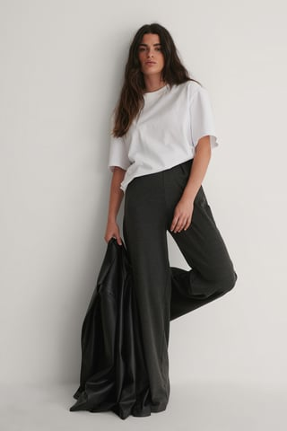Antracite Flare Knitted Trousers